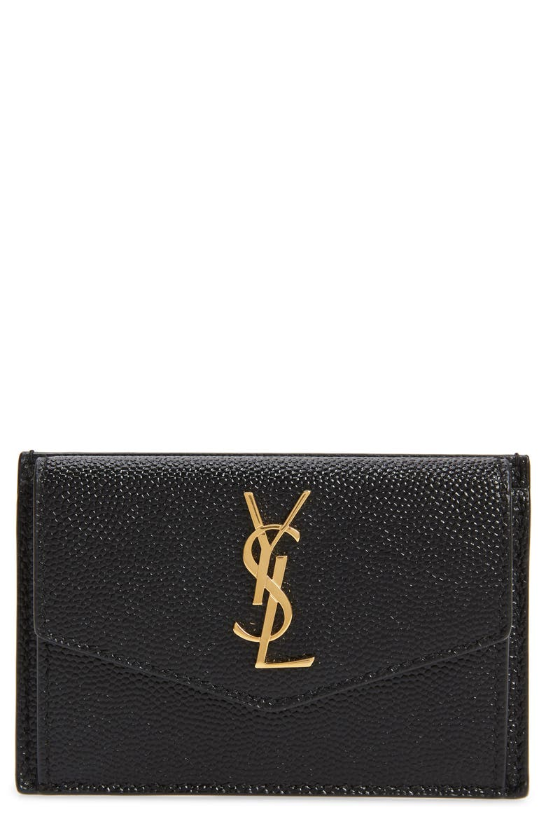 SAINT LAURENT Uptown Pebbled Leather Flap Card Case, Main, color, 001
