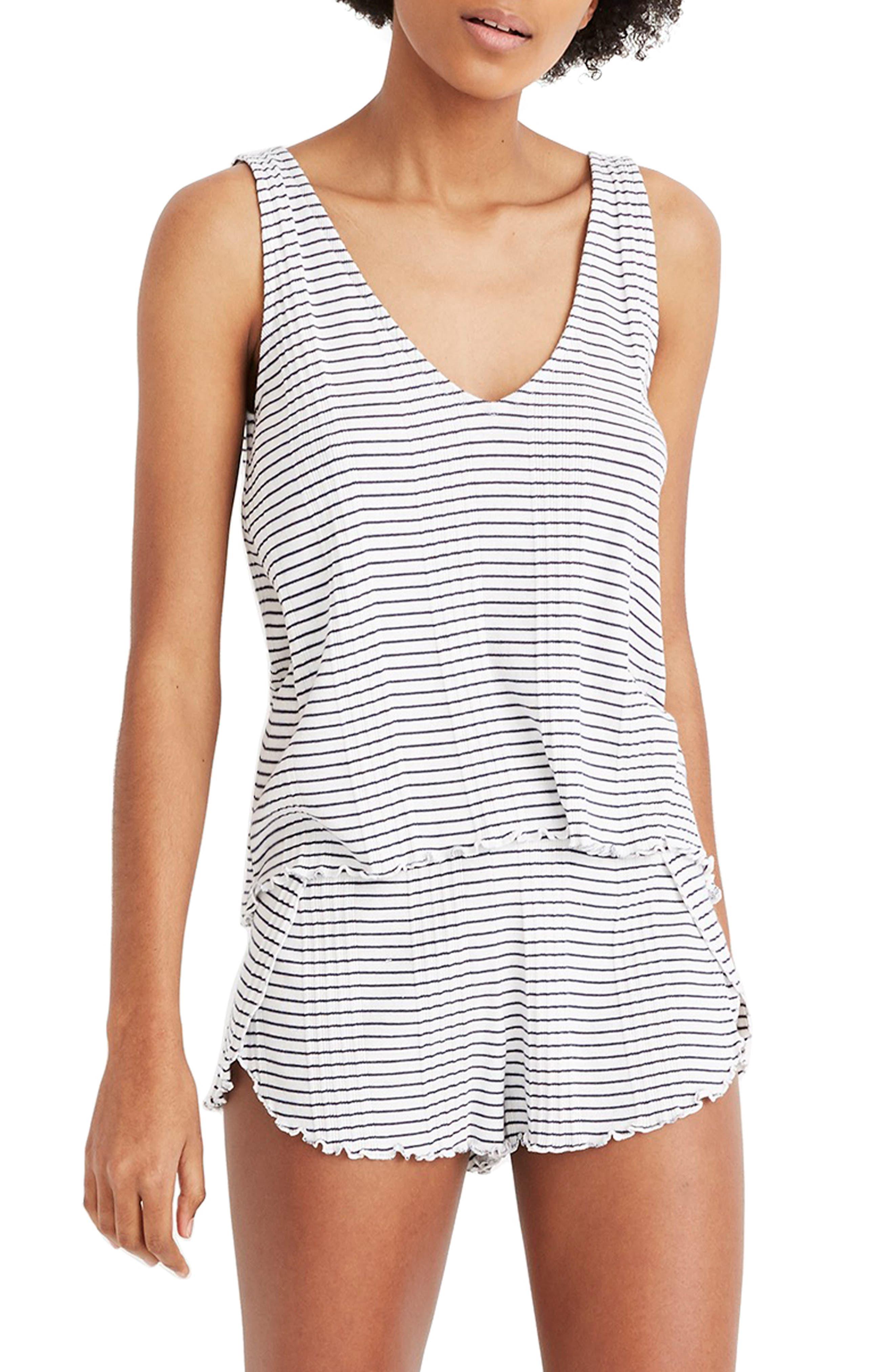 Madewell Stripe Rib Pajama Tank Top, Ivory