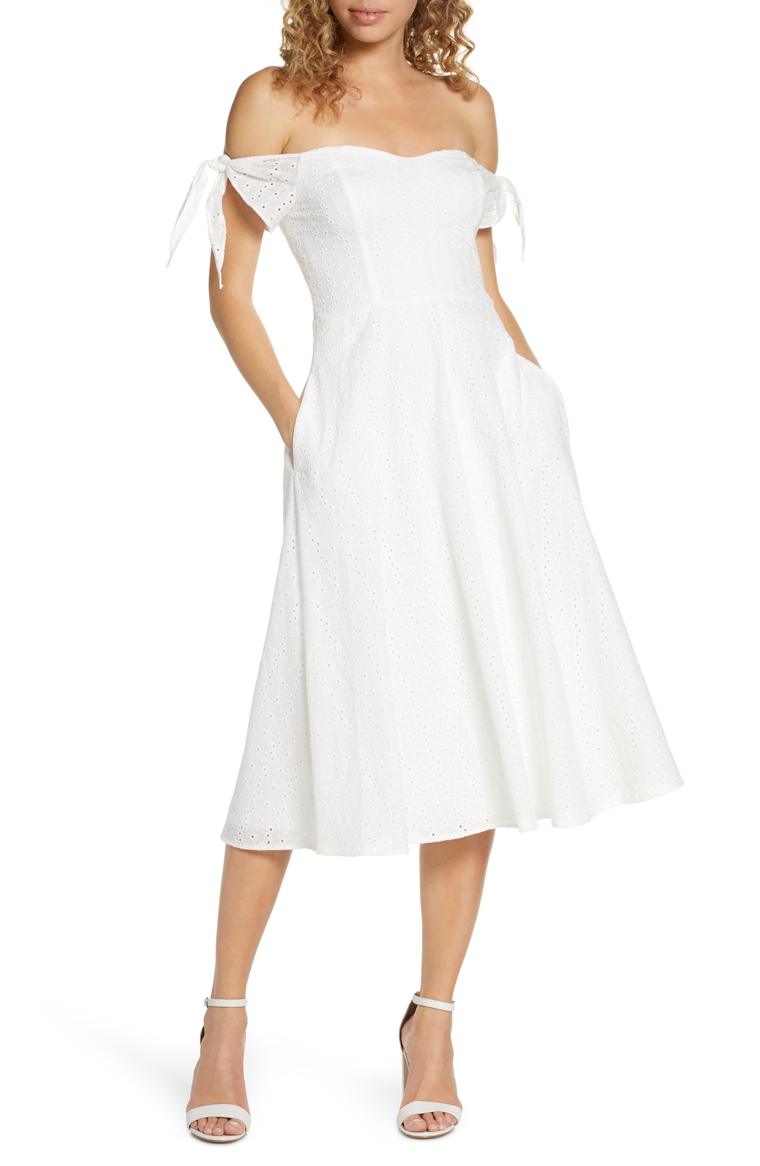 Avec Les Filles Off The Shoulder Eyelet Midi Dress, Ivory