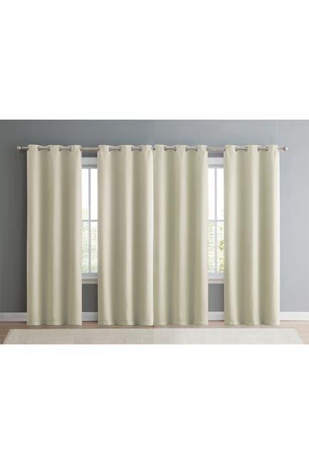 "Image of VCNY HOME Jordan Beige Triple Weave Blackout Curtains - 152"" x 84"" - Set of 4"