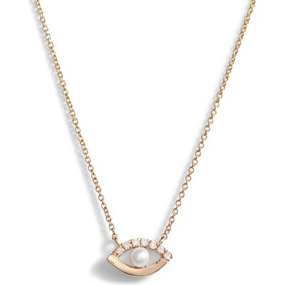 Dana Rebecca Designs Pearl & Diamond Evil Eye Pendant Necklace
