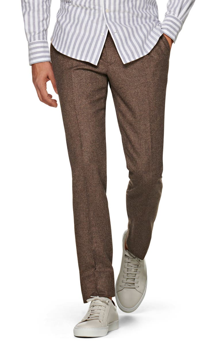 SUITSUPPLY Brentwood Pleated Tweed Wool Dress Pants, Main, color, BROWN
