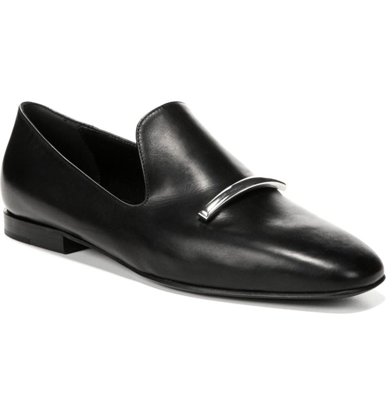 VIA SPIGA Tallis Flat Loafer, Main, color, BLACK LEATHER