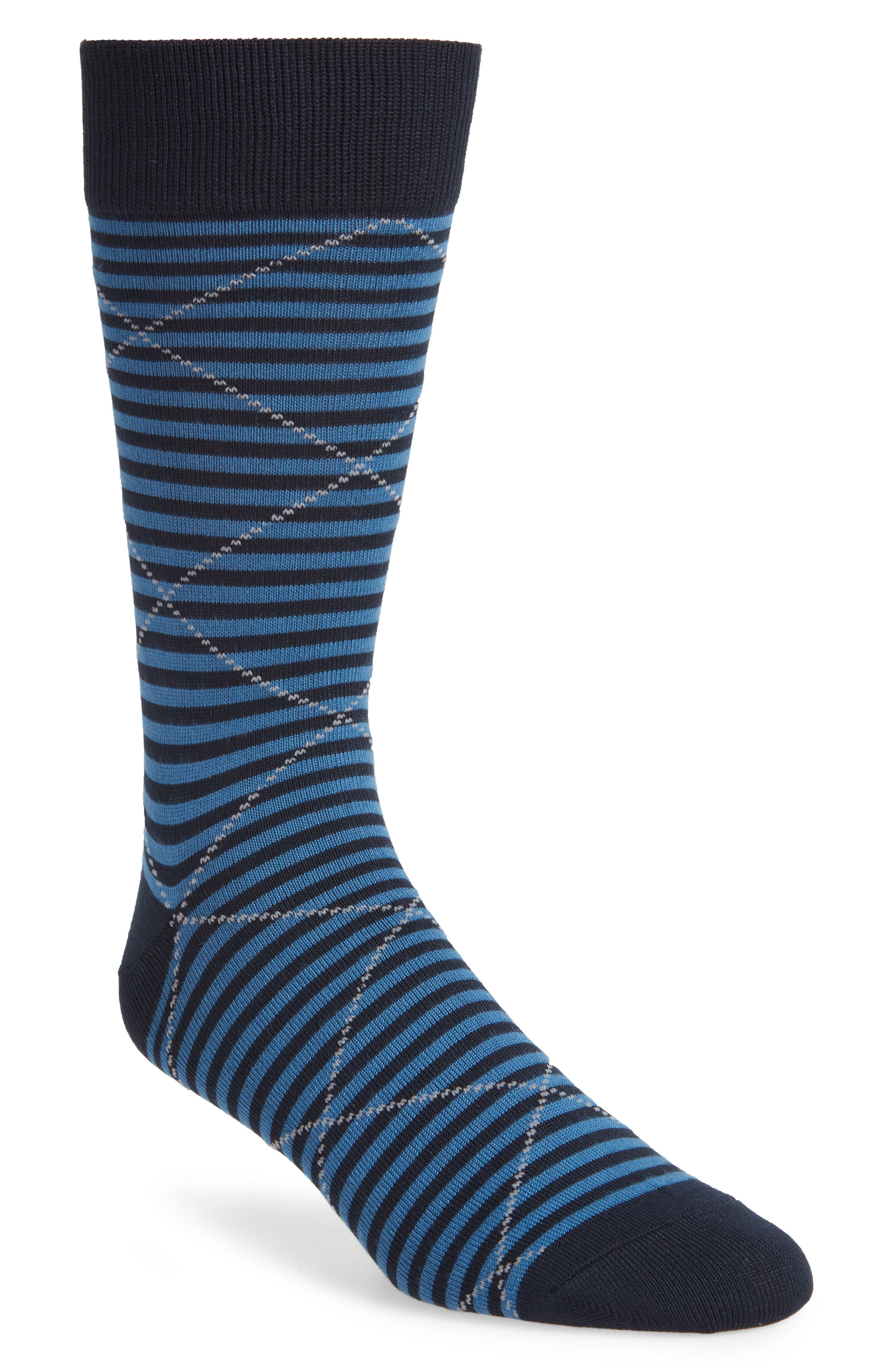 Ringed strips and bright diamonds bring distinctive color and pattern to any ankles in dress socks made with plenty of stretch and noticeable softness. Style Name: Nordstrom Men\\\'s Shop Ultrasoft Microstripe Dress Socks. Style Number: 5937878. Available in stores.