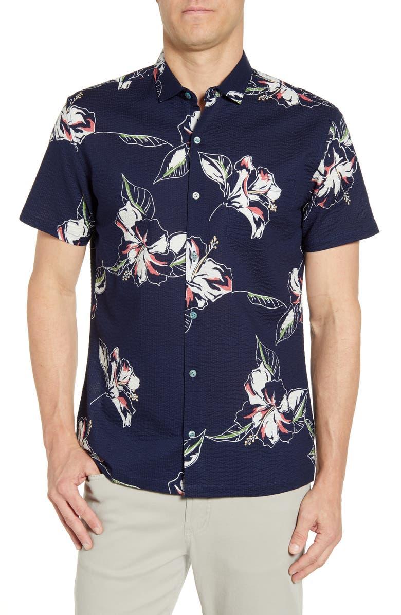 TORI RICHARD Silhouette Regular Fit Seersucker Shirt, Main, color, NAVY