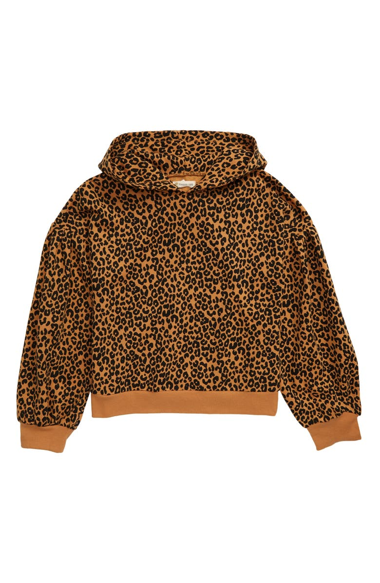 TUCKER + TATE Bubble Sleeve Hoodie, Main, color, TAN BISCUIT LEOPARD
