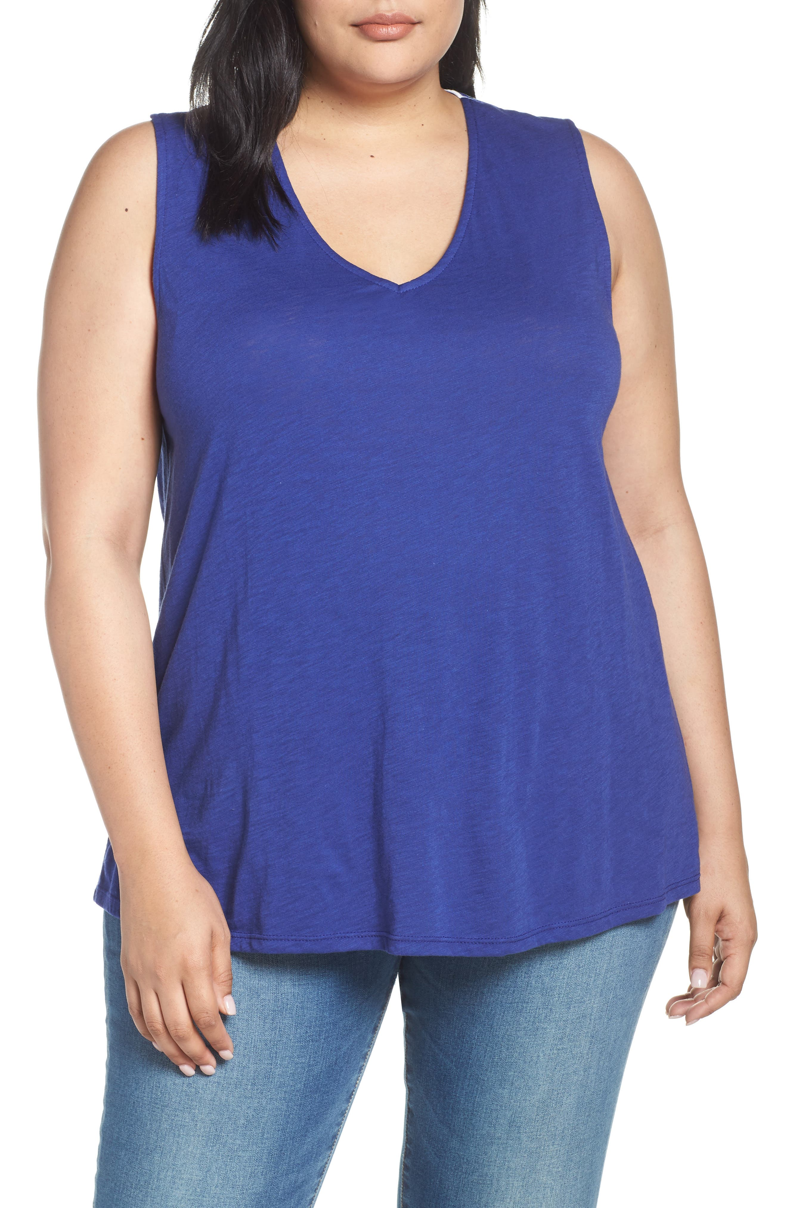 Plus Size Gibson X Hi Sugarplum! Malibu Embroidered Racerback Tank Top, Blue (Plus Size) (Nordstrom Exclusive)