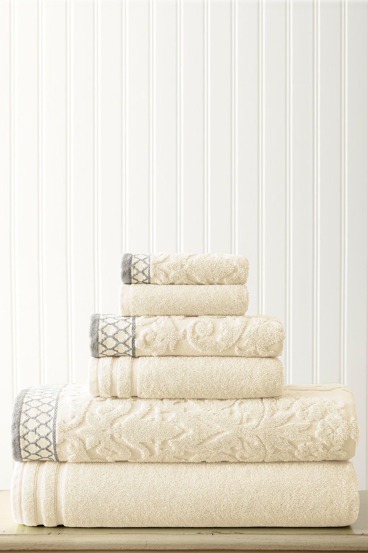 Image of Modern Threads Embellished Border Damask Jacquard Towel 6-Piece Set - Ivory