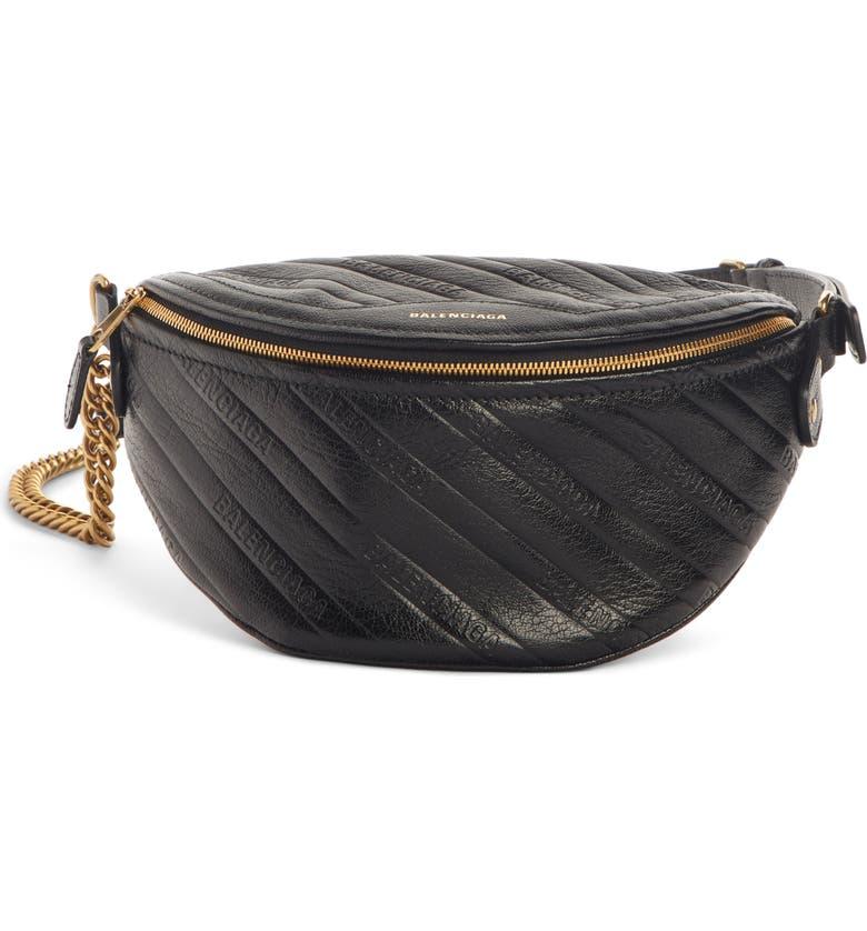BALENCIAGA Extra Small Souvenir Logo Leather Belt Bag, Main, color, BLACK