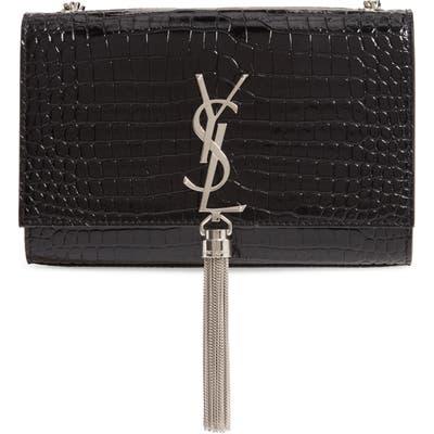 Saint Laurent Small Kate Croc Embossed Leather Shoulder Bag - Black