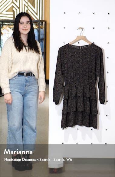 Modern Speckle Ruffle Long Sleeve Minidress, sales video thumbnail