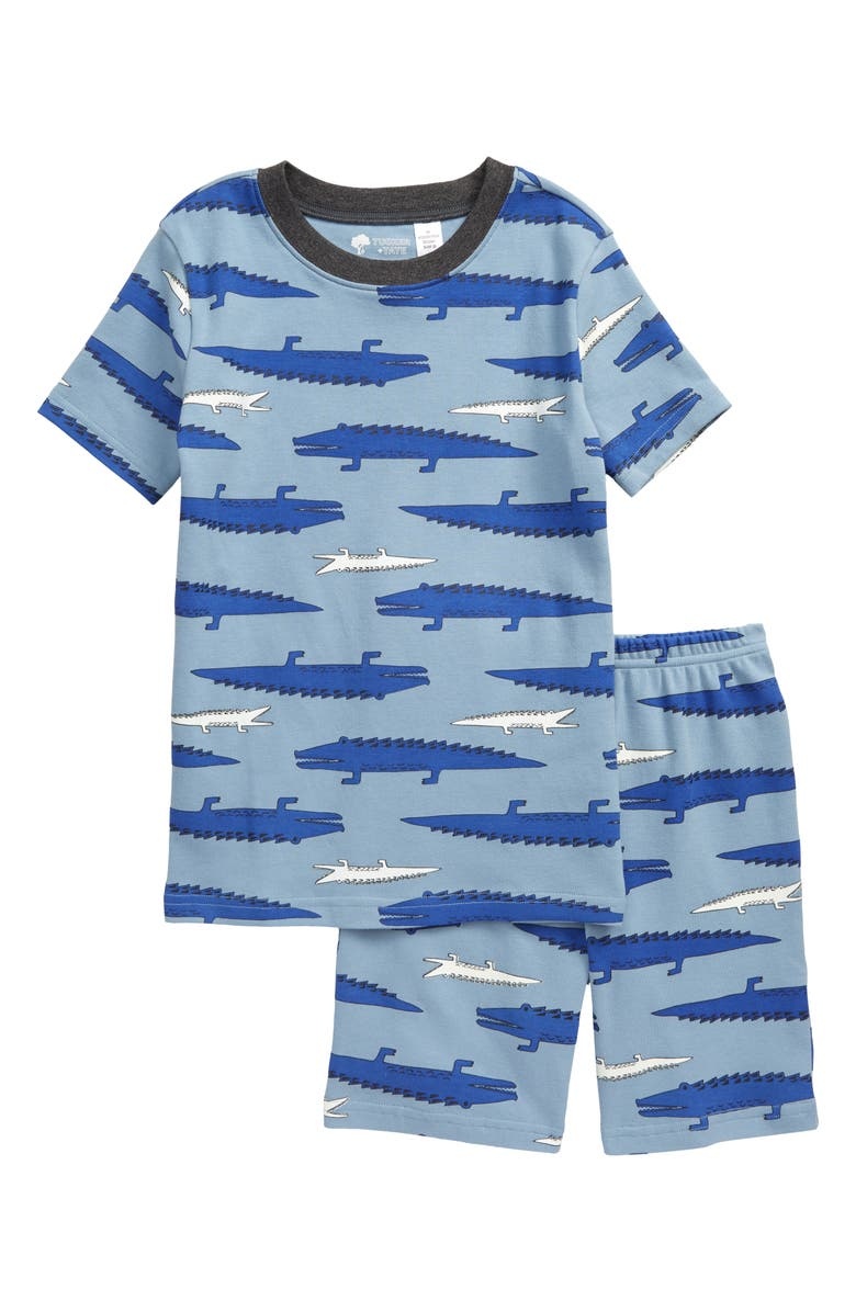 TUCKER + TATE Glow in the Dark Fitted Two-Piece Pajamas, Main, color, BLUE CHAMBRAY ALLIGATORS