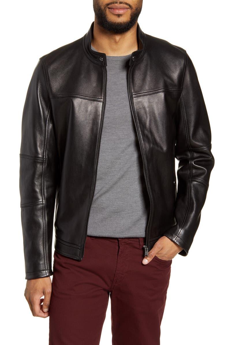 BOSS Nestem Leather Moto Jacket, Main, color, BLACK