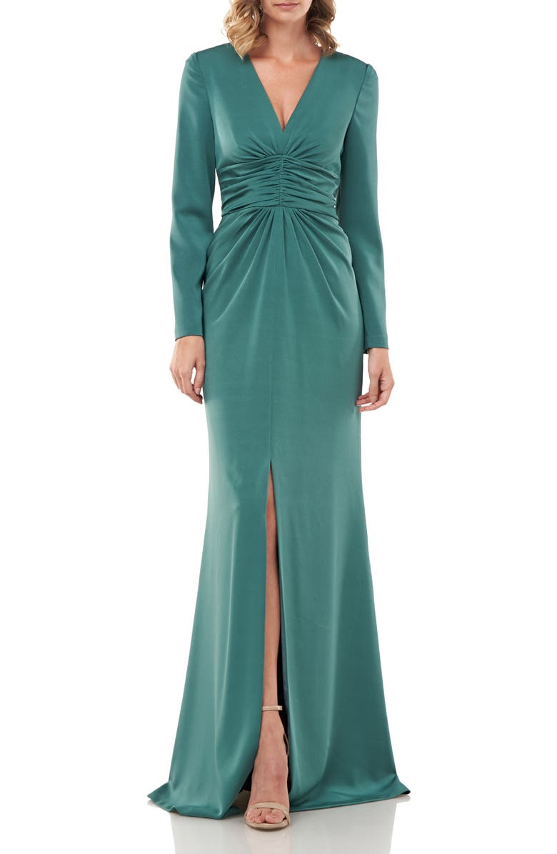 KAY UNGER Kayla Long Sleeve Evening Gown, Main, color, ENGLISH IVY
