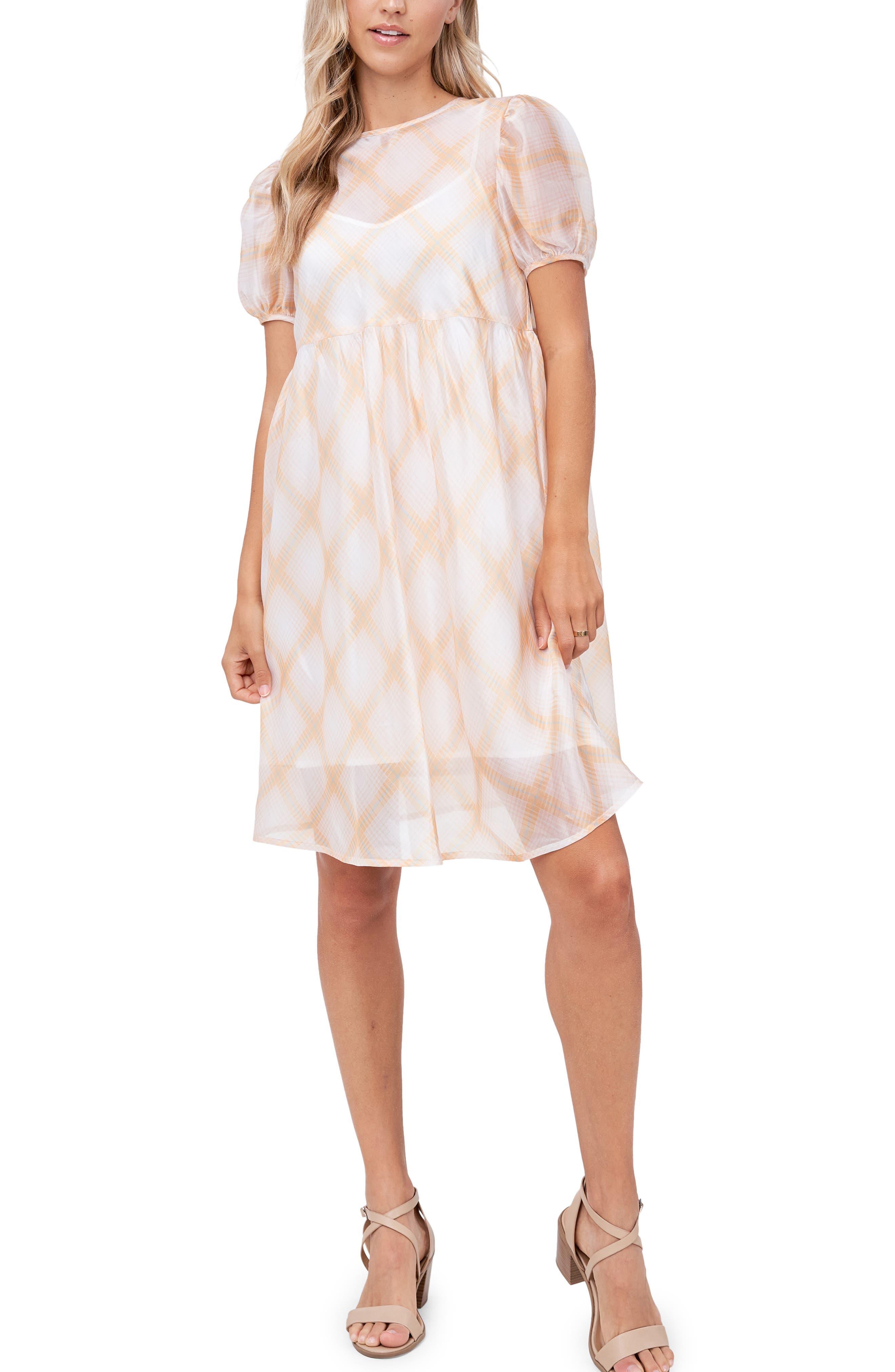 Plaid Organza Babydoll Dress