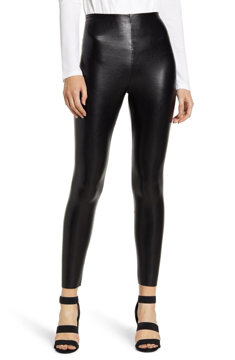 Faux Leather Ankle Leggings, Main, color, BLACK