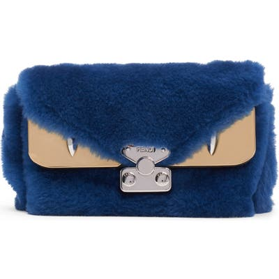Fendi Small Bag Bug Genuine Shearling Shoulder Bag - Blue