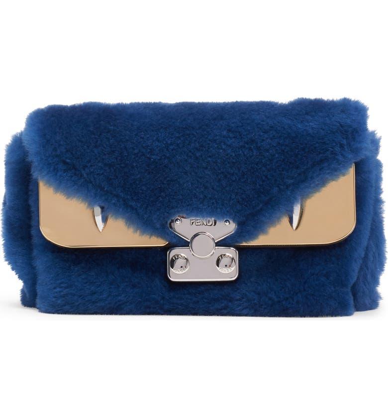 FENDI Small Bag Bug Genuine Shearling Shoulder Bag, Main, color, COBALTO