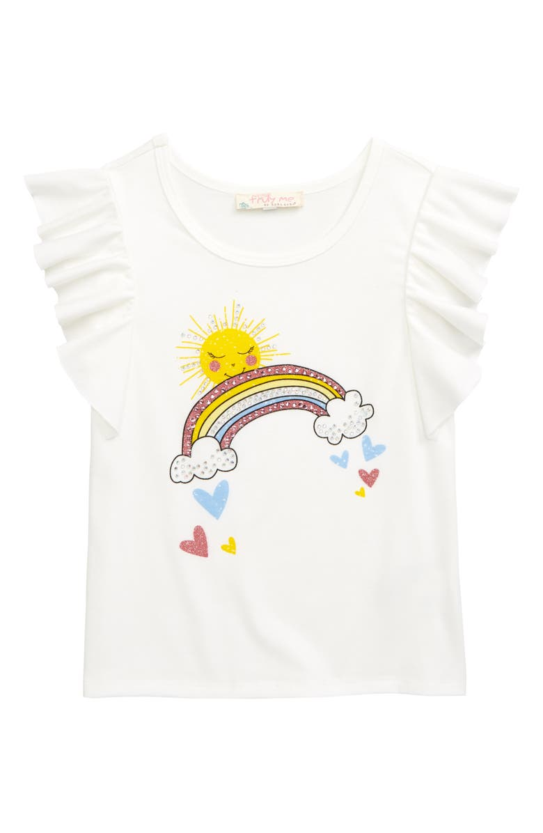 TRULY ME Embellished Sunshine Rainbow Print Graphic Tee, Main, color, 175