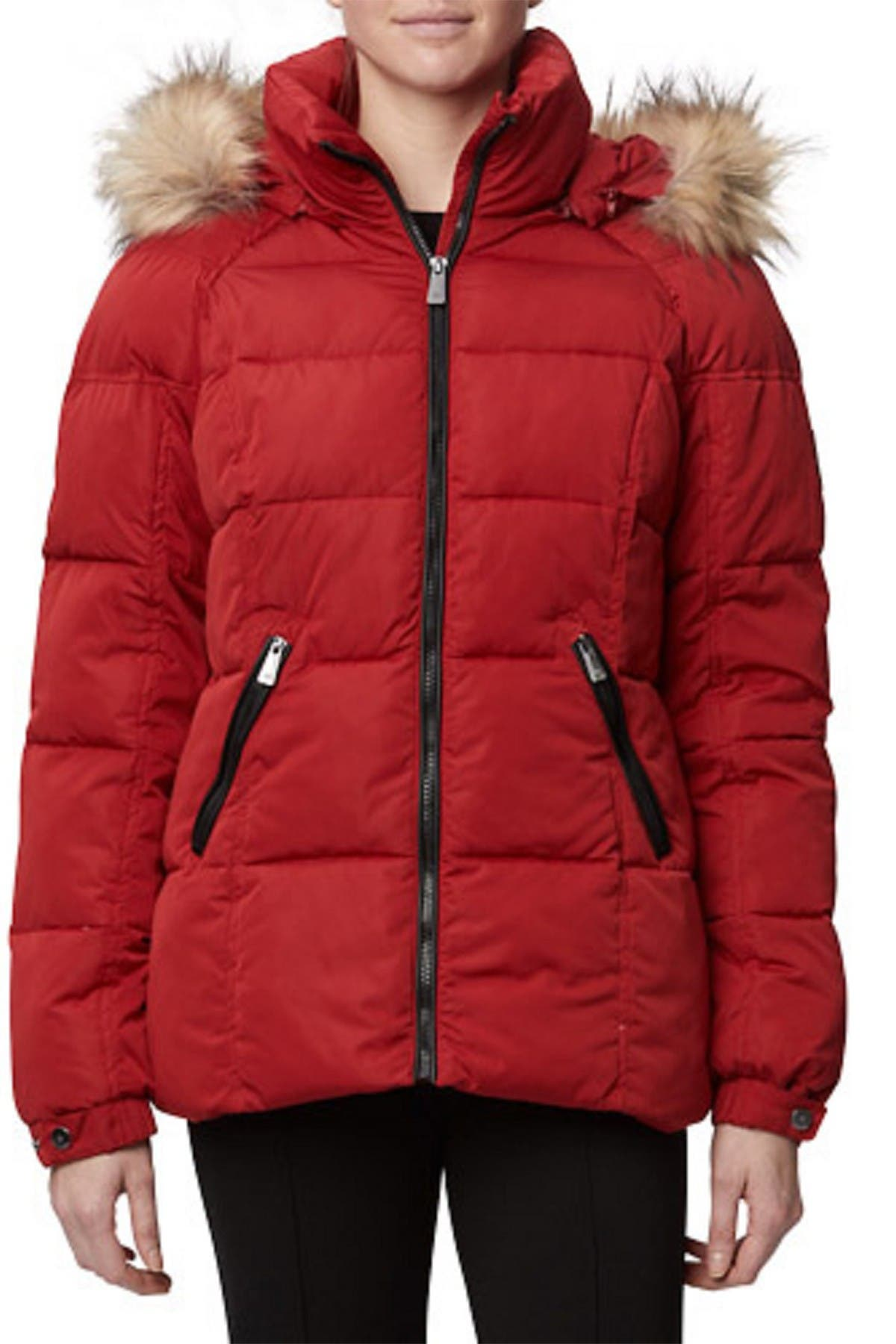 Image of Rainforest Horizontal Quilted Faux Fur Trim Thermoluxe Jacket