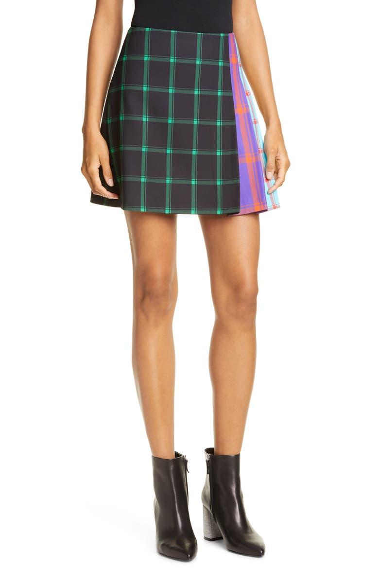 ALICE + OLIVIA Semira Contrast Plaid Miniskirt, Main, color, MD PLAID BLK/ EMERALD/ COMBO