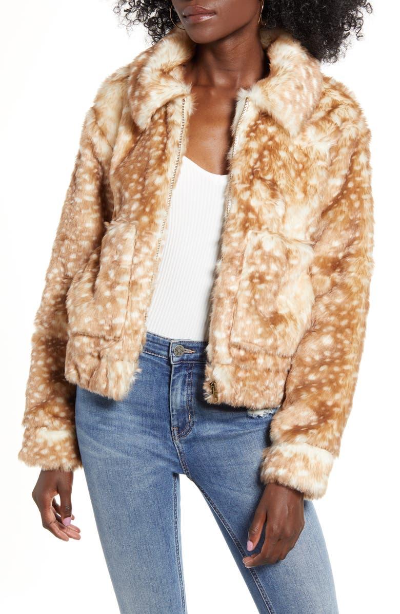 4SI3NNA 43SI3NNA Faux Fur Jacket, Main, color, BAMBI DOT