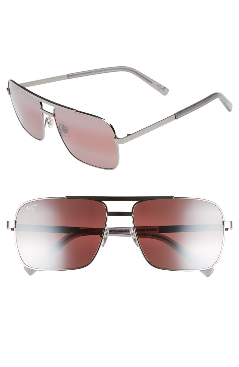 MAUI JIM Compass 60mm Polarized Aviator Sunglasses, Main, color, GUNMETAL/ MAUI ROSE