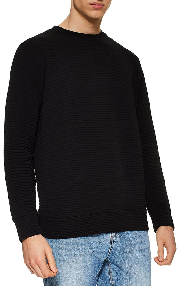 TOPMAN Ottoman Sweatshirt, Main, color, BLACK