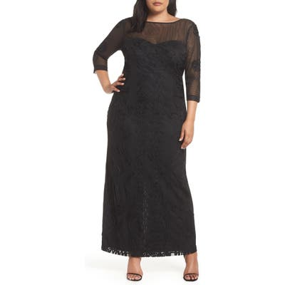 Plus Size Js Collections Soutache Trim Mesh Column Gown, Black