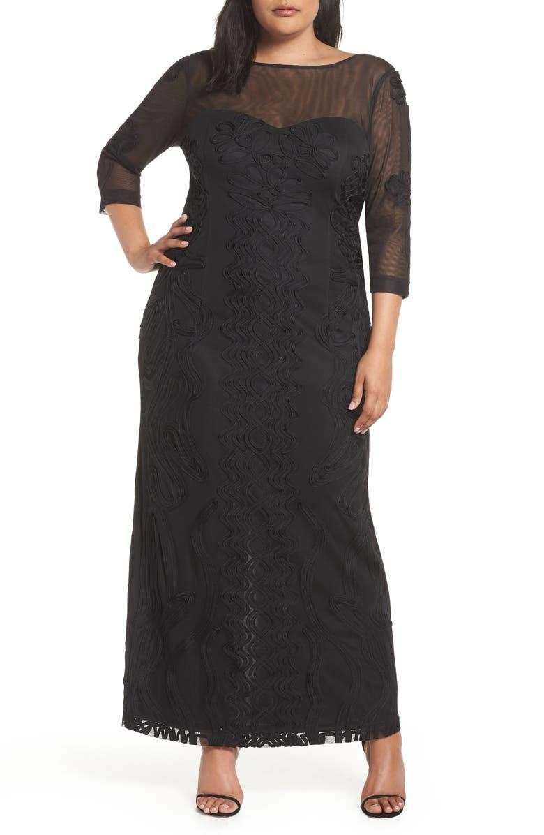 JS COLLECTIONS Soutache Trim Mesh Column Gown, Main, color, BLACK