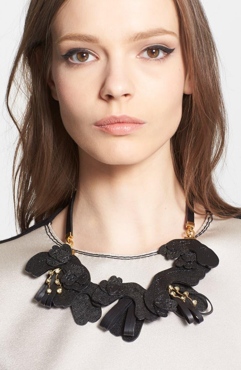 MARNI Saffiano Leather Necklace, Main, color, Black