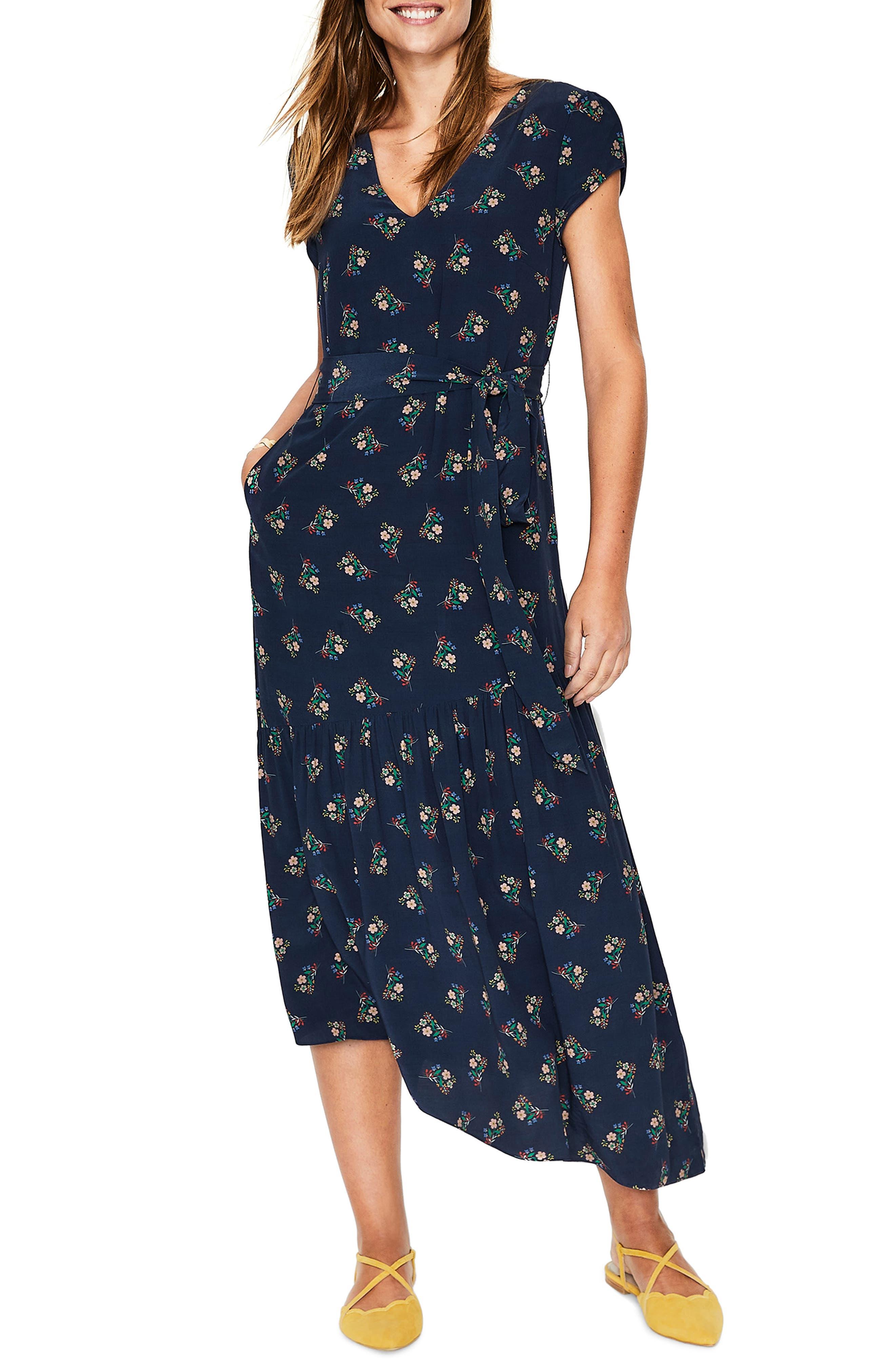 Petite Boden Amy Asymmetrical Midi Dress, Blue