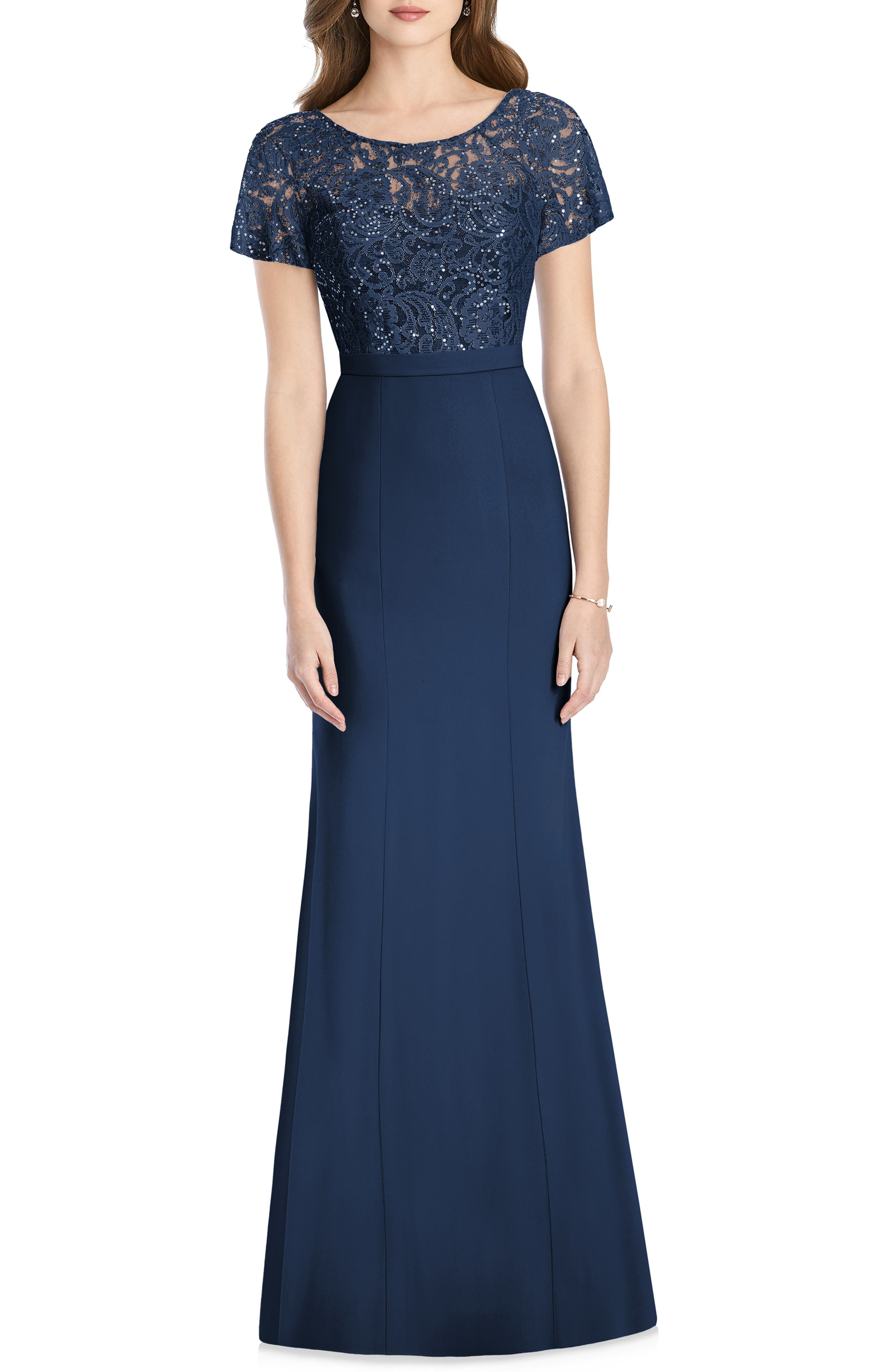 Jenny Packham Embellished Lace Gown, Blue