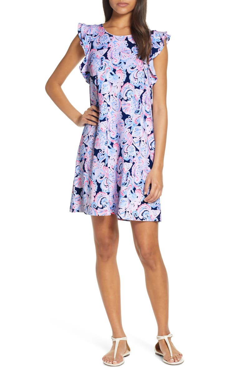 LILLY PULITZER<SUP>®</SUP> Dani Print Shift Dresses, Main, color, HIGH TIDE NAVY ITS FOR SHORE