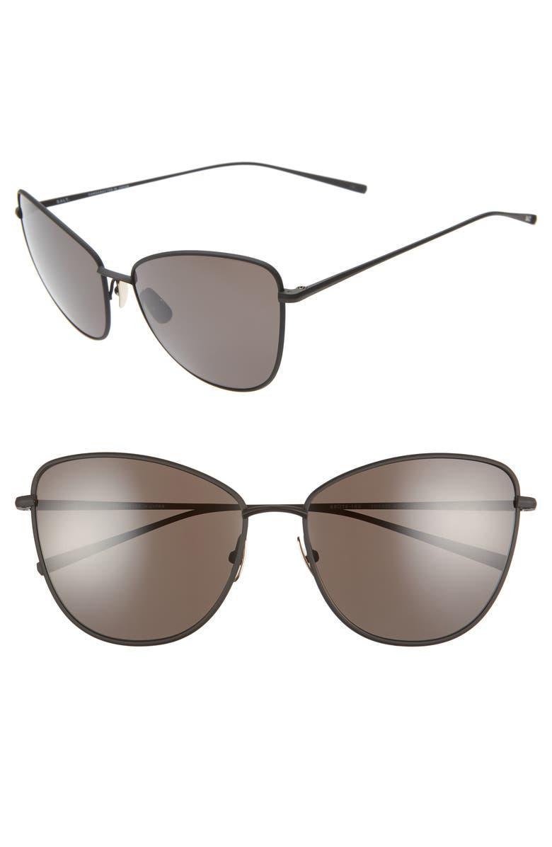 SALT. SALT Sherri Ann 60mm Polarized Cat Eye Sunglasses, Main, color, BLACK/ BLACK