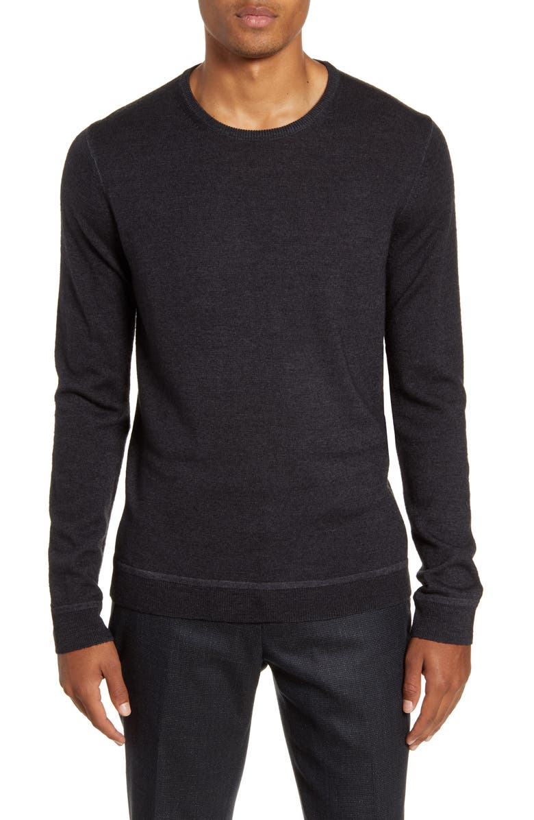 NORDSTROM SIGNATURE Merino Wool Garment Dye Crewneck Sweater, Main, color, GREY SHADE
