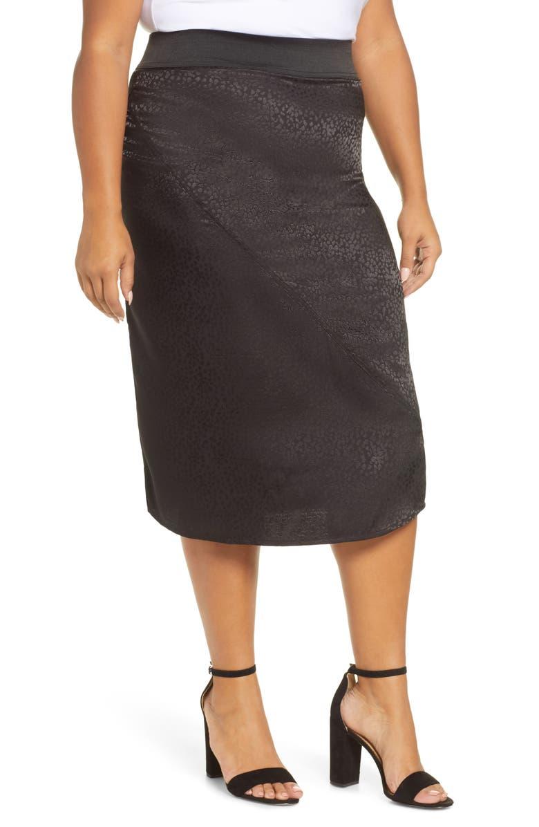 ACCURACY Pull-On Satin Jacquard Skirt, Main, color, BLACK