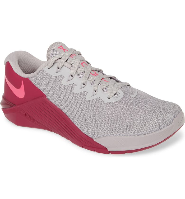 NIKE Metcon 5 Training Shoe, Main, color, GREY/ TRUE BERRY/ PINK BLAST