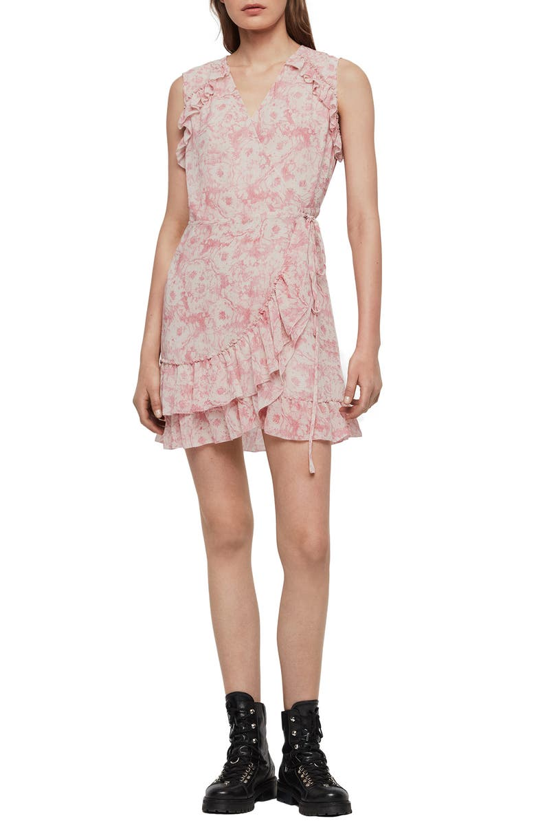 ALLSAINTS Priya Rosa Wrap Dress, Main, color, PINK