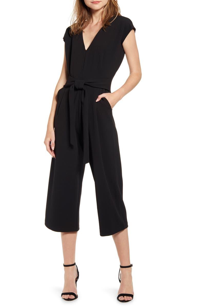 BISHOP + YOUNG Tie Front Crop Jumpsuit, Main, color, BLACK