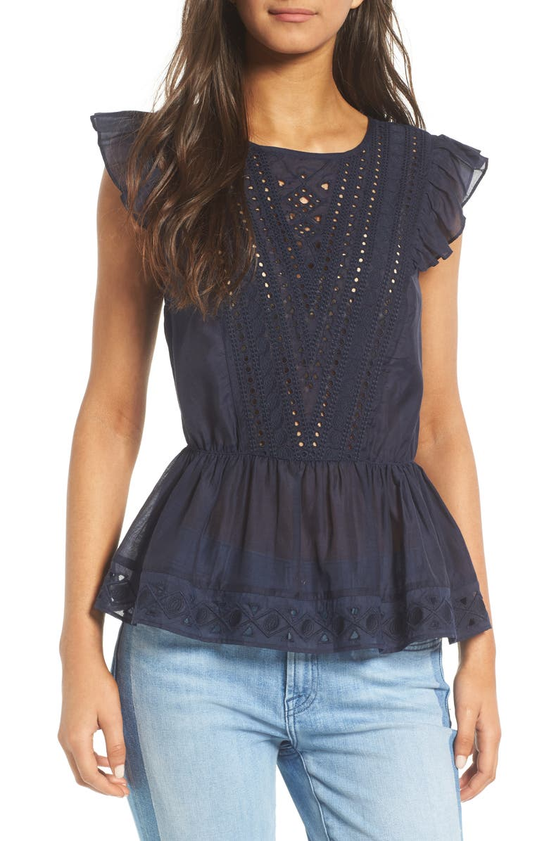 HINGE Eyelet Ruffle Tank, Main, color, 400