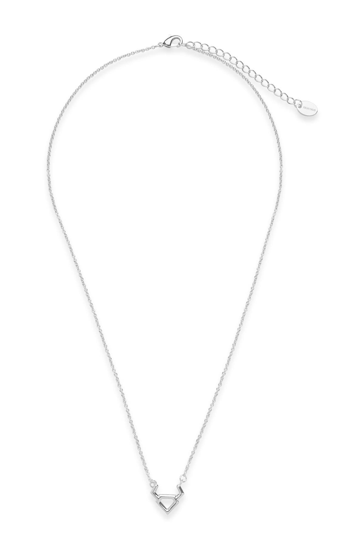 Sterling Forever Rhodium Plated Zodiac Pendant Necklace - Taurus