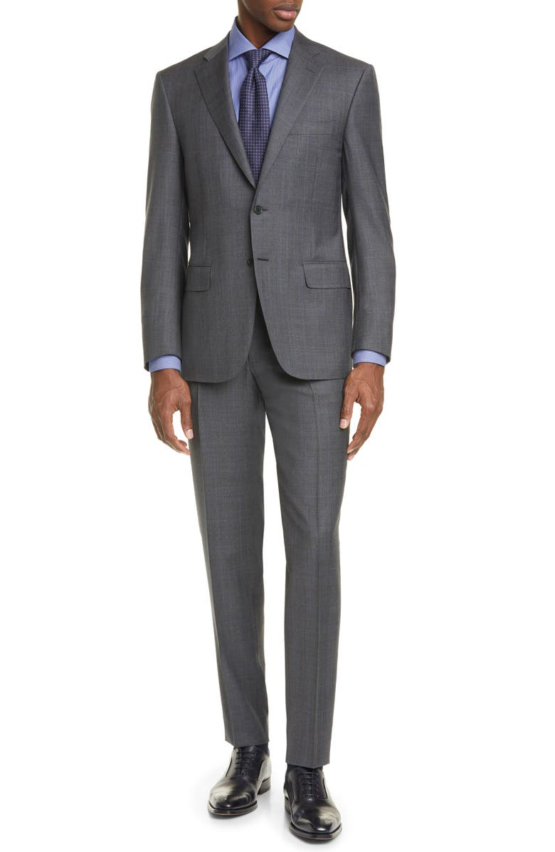 CANALI Siena Soft Classic Fit Glen Plaid Wool Suit, Main, color, GREY