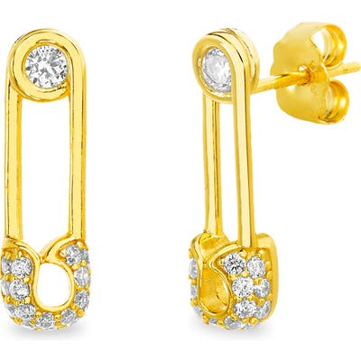 Lesa Michele Pave Safety Pin Earrings