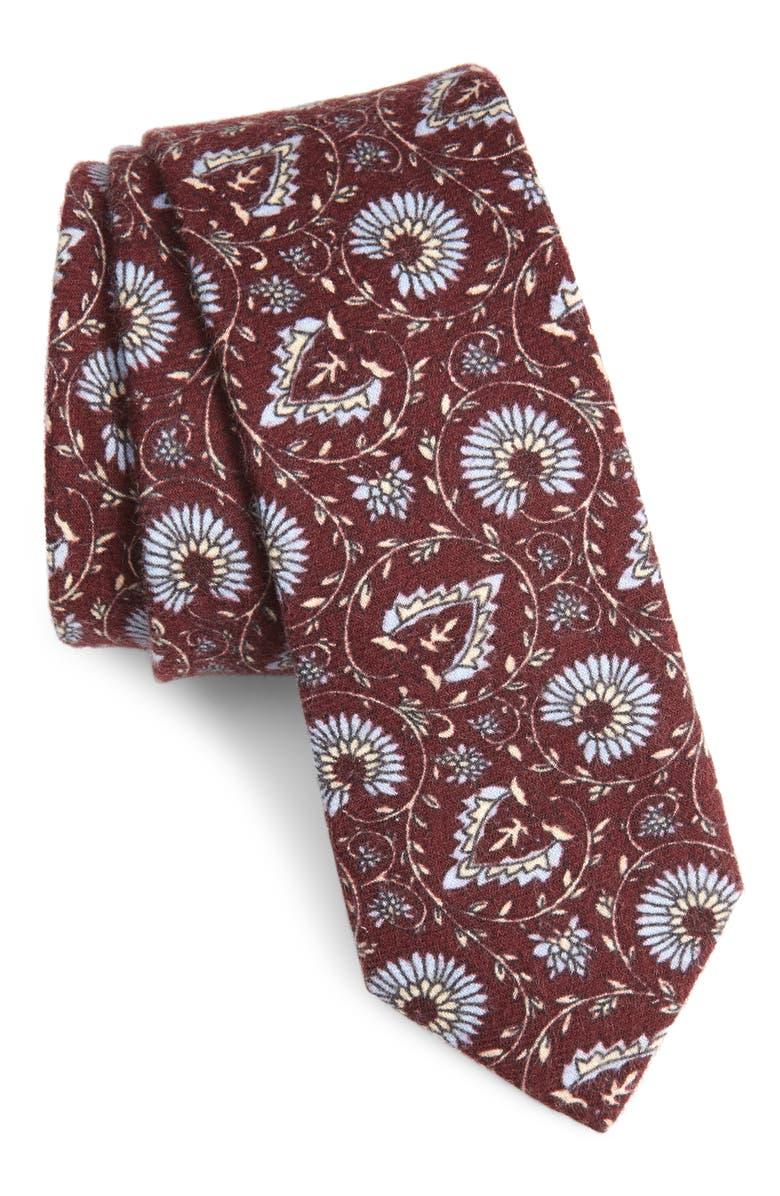 1901 Casey Floral Cotton Tie, Main, color, BERRY