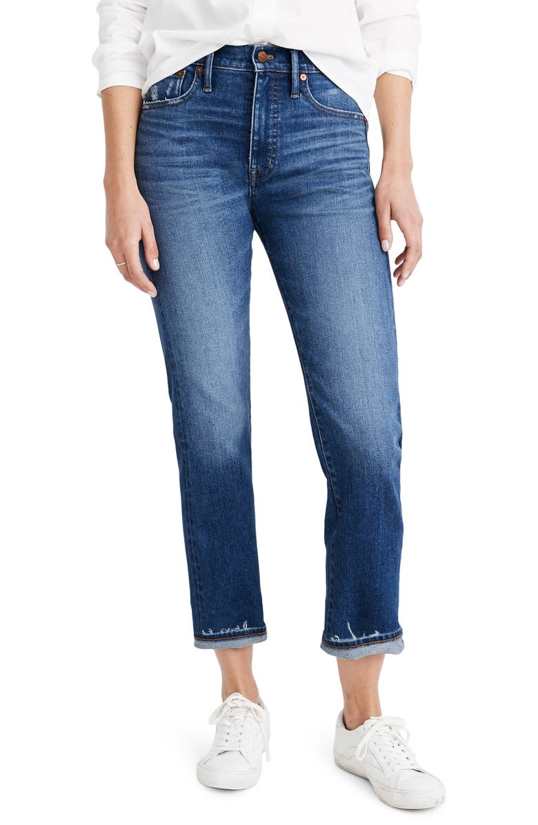 MADEWELL Classic Straight Jeans Selvedge Edition, Main, color, WOODCREST WASH