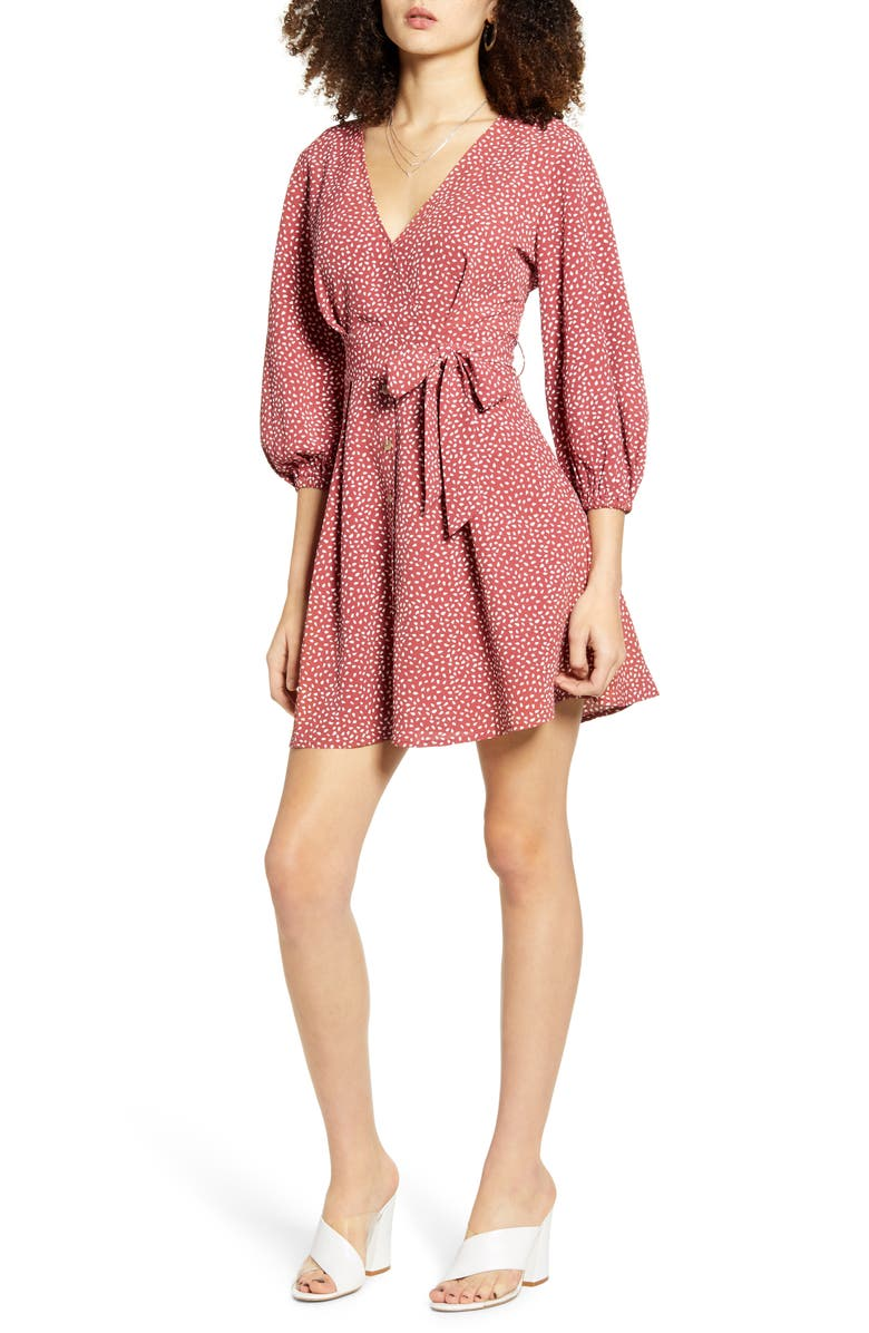 ALL IN FAVOR Woven Minidress, Main, color, ROSE