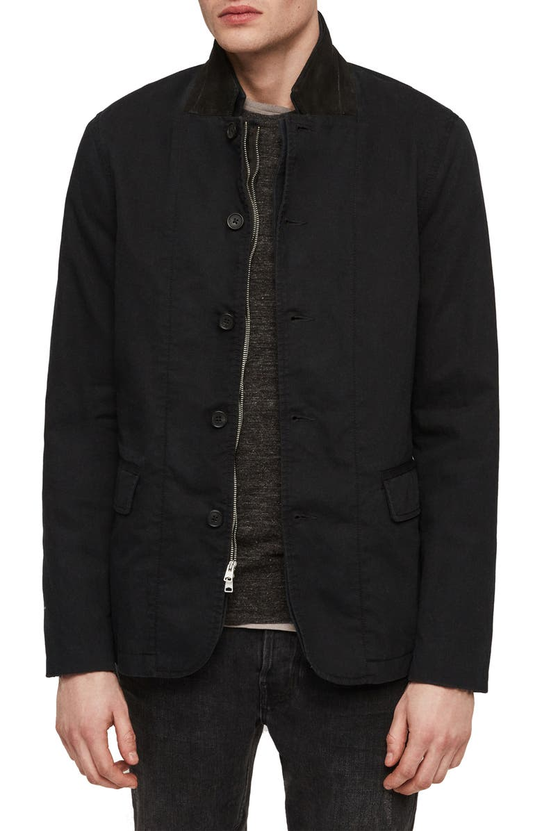 ALLSAINTS Clymont Slim Fit Jacket with Suede Collar, Main, color, 412