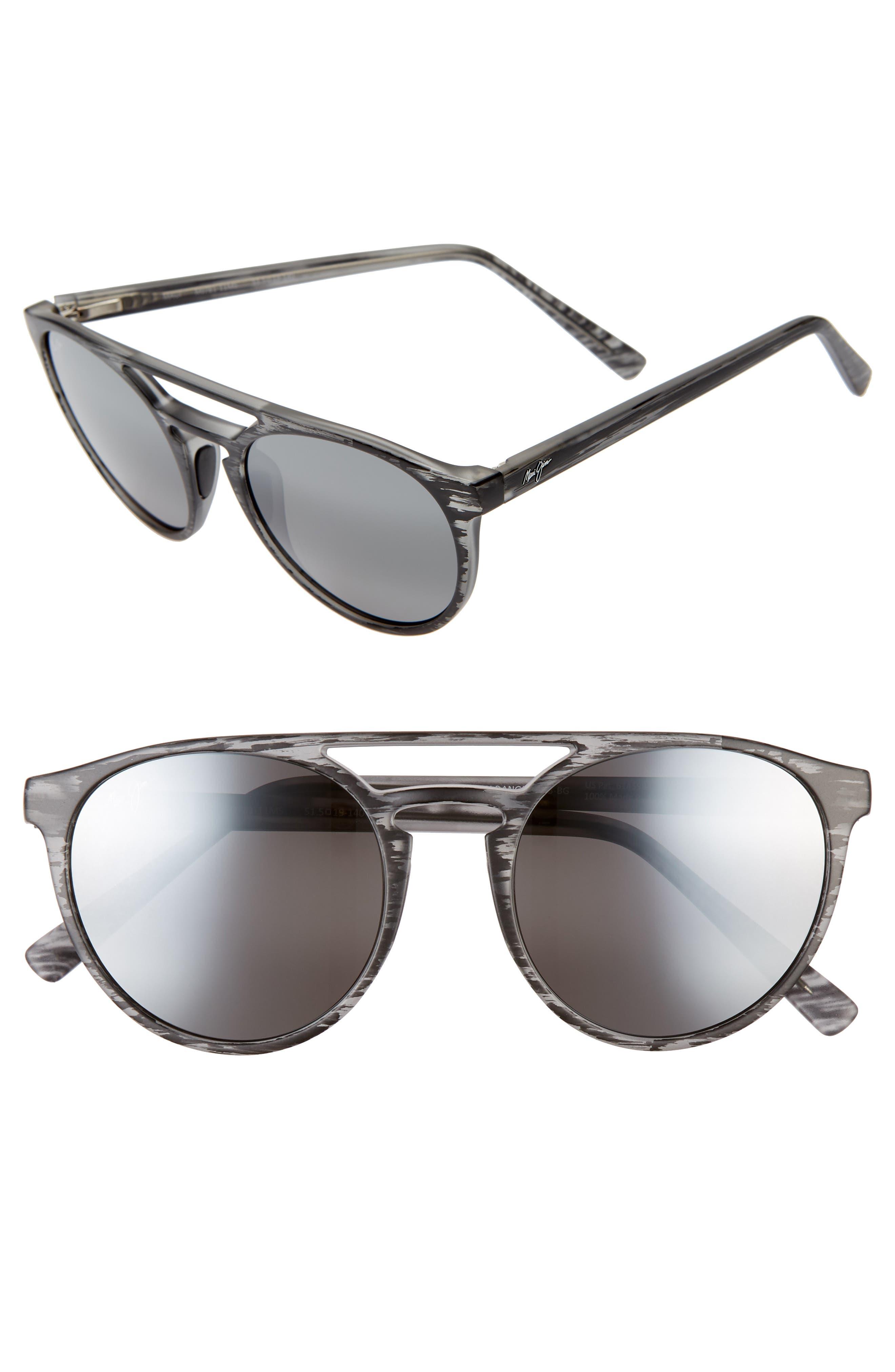 Maui Jim Ah Dang! 52Mm Polarizedplus2 Flat Top Sunglasses - Grey Stripe/ Neutral Grey