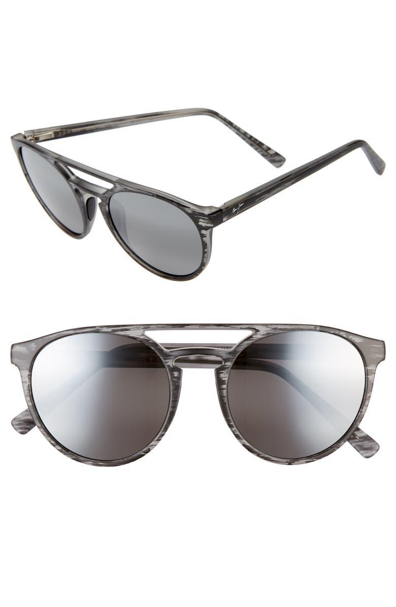 MAUI JIM Ah Dang! 52mm PolarizedPlus2<sup>®</sup> Flat Top Sunglasses, Main, color, GREY STRIPE/ NEUTRAL GREY